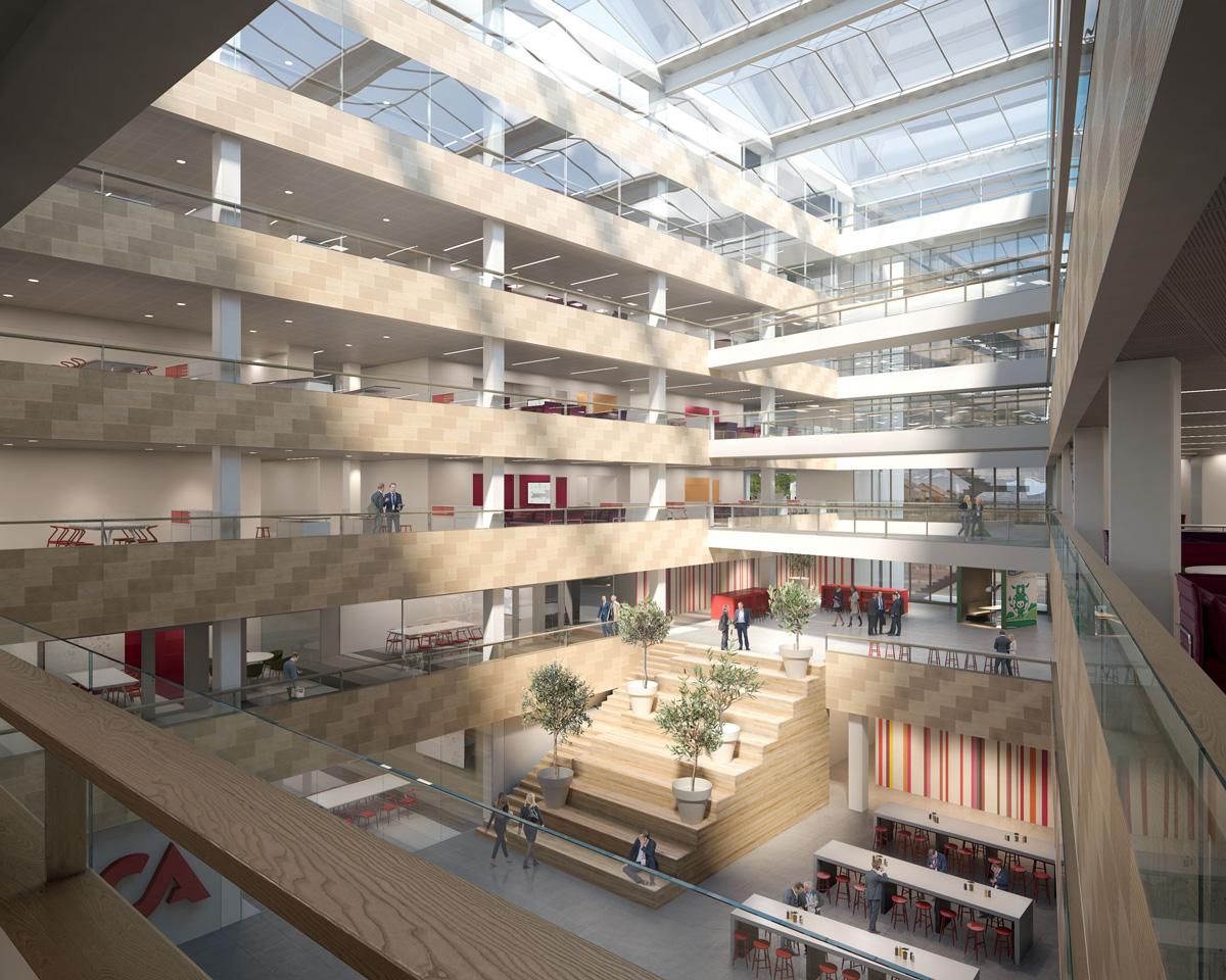Liksom i det nuvarande kontoret i Solna Business Park så kommer det att finnas en stor trappa inomhus.