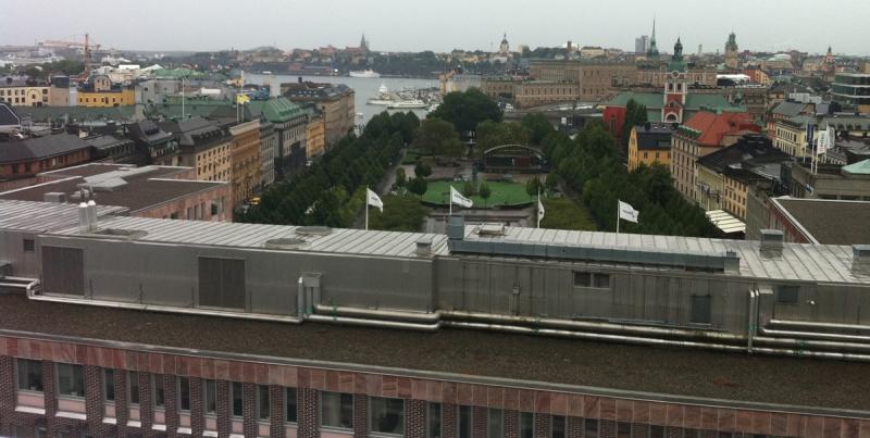 Utsikt från takterrassen på Mästerhuset.