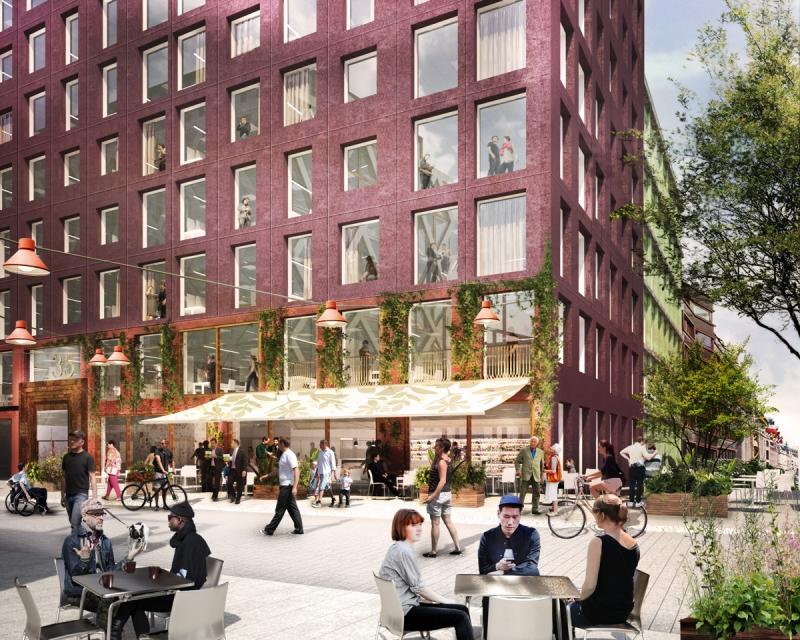 Samma ställe? Så här höga visoner har Stockholms stad, Vasakronan och Merge Arkitekter för Malmskillnadsgatan om projektet blir av. Jämför med milön på bilderna ovan. Bild: Vasakronan/Marge Arkitekter.