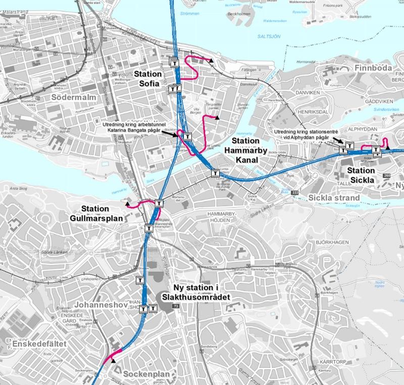 Den nya tunnelbanesträckningen med stationsplaceringar. Källa: SL.