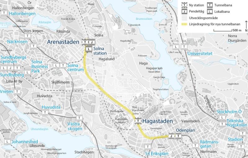 Föreslagen sträckning tunnelbana från Odenplan till Arenastaden.