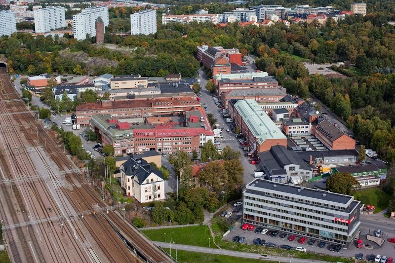 Flygbild över Hagalunds industriområde. Foto: Humlegården Fastigheter.