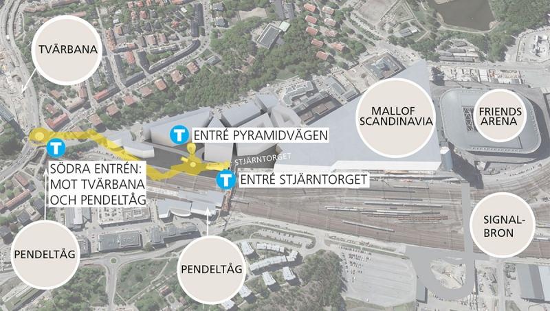 En ny station planeras i Arenastaden under mark. Tidigare fanns två tänkbara stationslägen, Mitt och Syd. Efter utredningen har vi gått vidare med stationsläge Syd. Den norra uppgången i Arenastaden vetter mot Stjärntorget. Det blir nära till Friends Arena, bostäder, kontor, hotell och den nya handelsplatsen Mall of Scandinavia. Den södra uppgången hamnar under Frösundaleden och gör det lätt att byta till pendeltåg vid Solna station, till bussar på Frösundaleden och till Tvärbanan. Sträckningen gör det möjligt att i framtiden bygga en station i Hagalunds industriområde, där Solna stad planerar för nya bostäder och arbetsplatser. Det går också att förlänga Gula linjen norrut från Arenastaden.