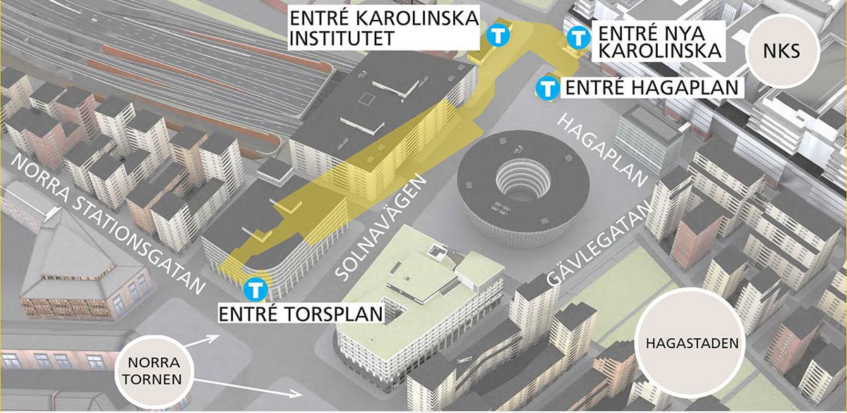 Station Hagastaden. Station Hagastaden får en sydlig entré vid Torsplan och tre nordliga entréer: en i Nya Karolinska Solnas entré, en på det nya torget utanför sjukhuset och en mot Karolinska Institutet. Gula linjen kommer att försörja den nya stadsdelen Hagastaden som får 6 000 bostäder och 50 000 arbetsplatser.