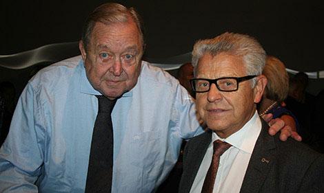 Lennart Johansson och Erik Paulsson i samband med första spadtaget för Mall of Scandinavia 2012. Den tidigare UEFA-presidenten hyllade Erik Paulssons insats för området. Foto: Fastighetsvärlden.