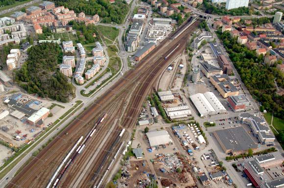 Flygbild över Arenastaden 2205. Bild: Solna stad.