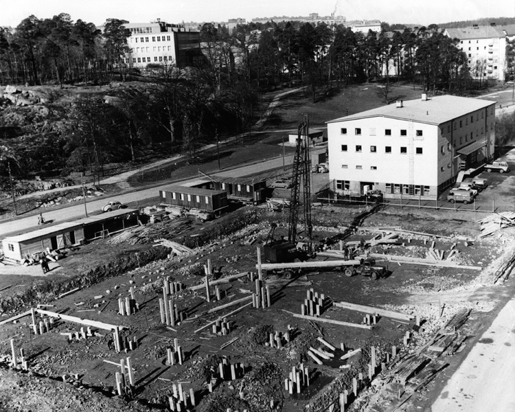 Dalvägen 1958. Vy från Kv Farao mot väster. Foto: Olle Johansson, Solna stad/arkiv