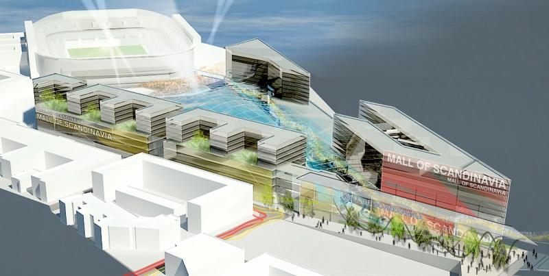 En av de första illustrationerna över hur det nya området med multiarenan och ett stort köpcentrum skulle bli. Den är från 2008.
