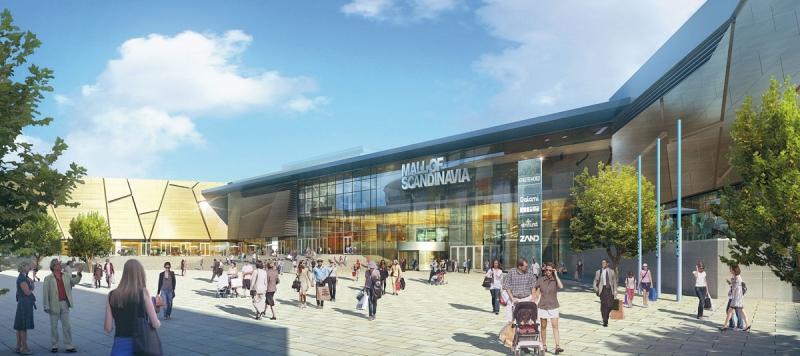 Ett tidigt förslag på hur entrén till Mall of Scandinavia skulle bli. Fasaden, i form av isflak med inspiration från skärgården är dock intakt. Själva entrén har förändrats.