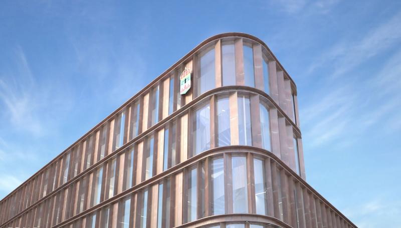 Fasad nordväst. Illustation: Fojab Arkitekter.