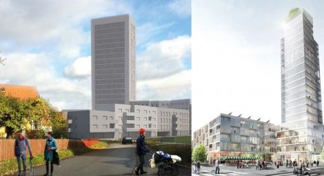 Visioner för höghus i Rotebro och vid mässområdet i centrala Sollentuna. Illustrationer: Bleck arkitekter, DinellJohansson.