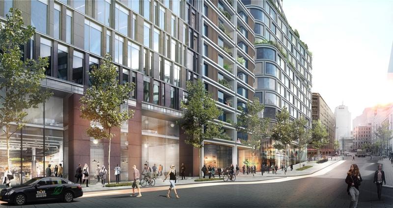 Så här planerar Pembroke för att fastigheten Hästen 21 ska se ut år 2020. Vy från Mäster Samuelsgatan. Till vänster syns bolagets färdigställda projekt Mästerhuset. Till höger syns det planerade nya huset där bostadsdelen finns till vänster. Illustration: Schmidt/Hammer/Lassen Architects.