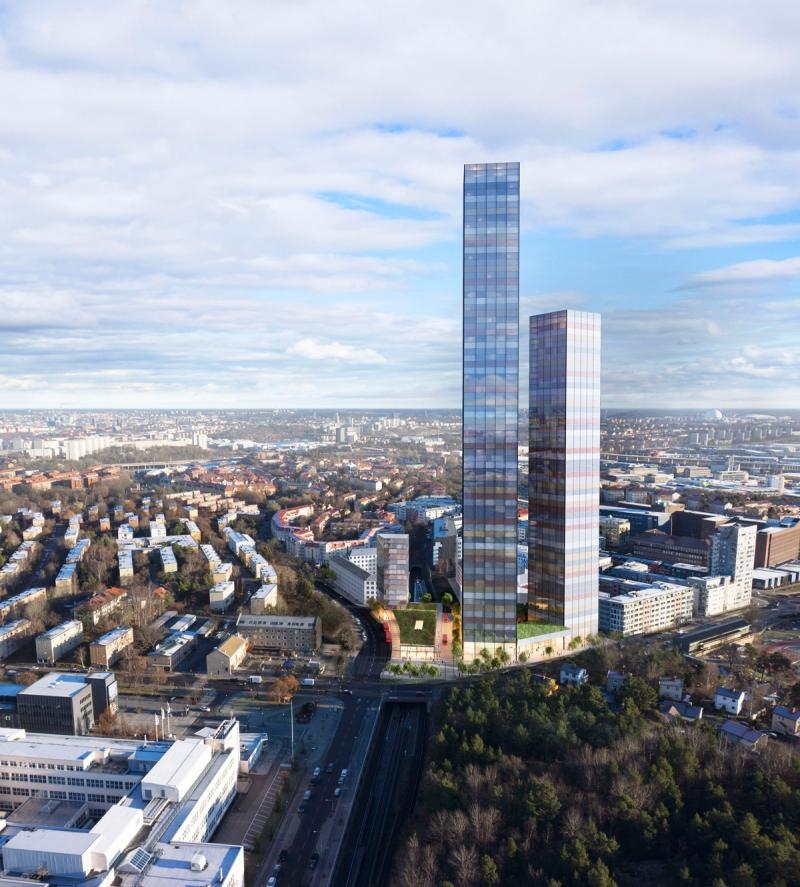 Ett planerat höghus blev istället två när SSM nu har presenterat ett nytt förslag vid Telefonplan i södra Stockholm.