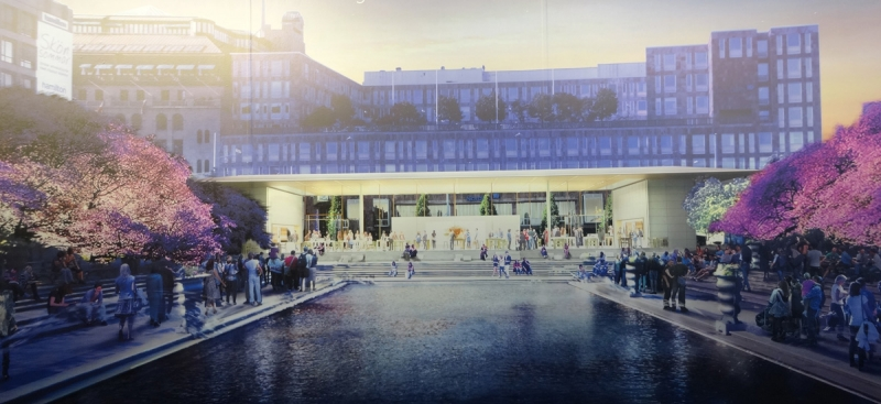 Vy från söder. I bakgrunden syns PK-huset och NK. Illustration: Foster & Partners.