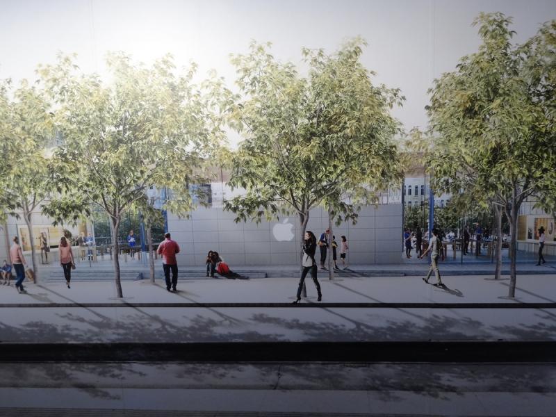 Så här planerar Apple att fasaden mot Hamnhatan ska se ut framöver. Illustration: Foster & Partners.