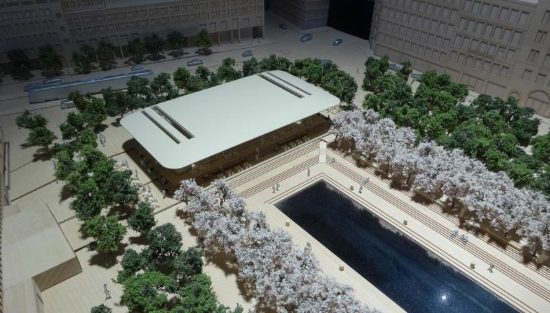 Modell av det planerade bygget som Apple visar i Kulturhuset.