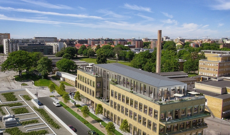Det nya kontorshuset smälter in med den tidigare bebyggelsen i området.