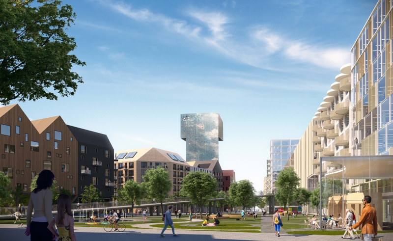 Södra Kista ska bli en blandstad, det är många aktörer och även Stockholms stad överens om. Till exempel Klövern har öppnat för bostäder. Illustration: Lomar Arkitekter.