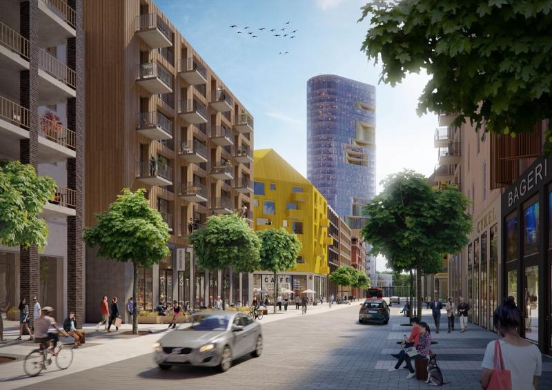 Höghuset som RSS planerar i Kista. Det ska ligga nära avfartsvägen från E4:an och i korsningen av E18. Bolaget vill bygga stora mängder bostäder i området.