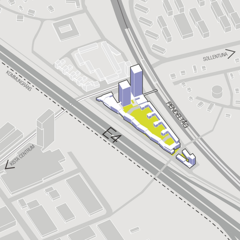 Triangeln mellan E4:an och Helenelunds pendeltågsstation. Här vill RSS och Lomar Arkitekter bygga bland annat två höghus. Illustration: Lomar Arkitekter.