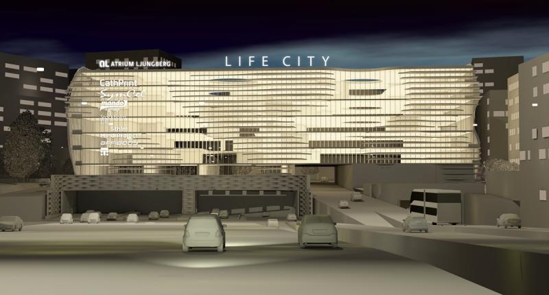 Atrium Ljungbergs fastighet Life City sett från motorvägen E4/E20 norrgående. Illustration: ON Arkitekter