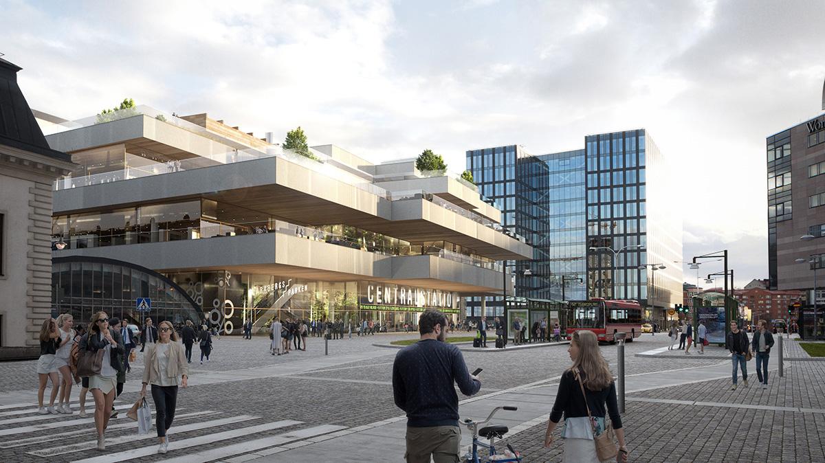 En tidig skissbild på hur entrén till nya stationen kan se ut. Skiss: Alessandro Ripellini Arkitekter.