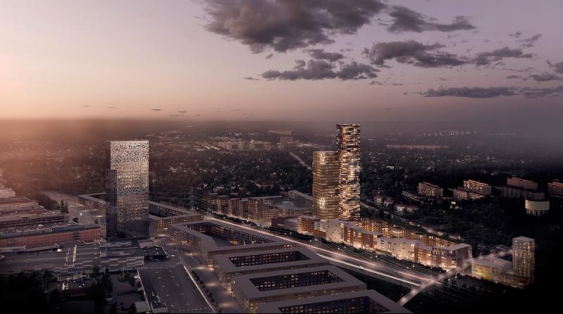 Två av höghusen som RSS planerar ska ligga vid Helenelunds tunnelbanestation. Till vänster på bilden syns 120 meter höga Victoria Tower som ligger i Kista.