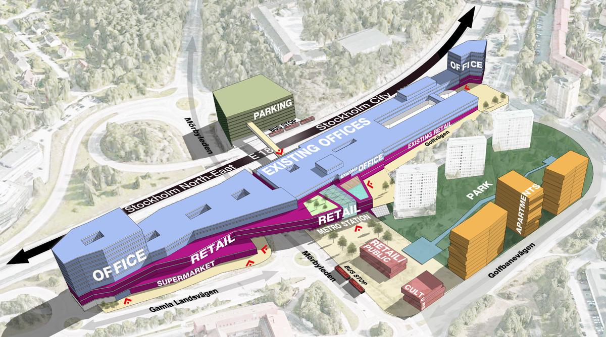 Skiss över hur Nya Mörby Centrum är tänkt att se ut vid invigningen 2020. Planen är ett parkeringshus öster om E18 och två nya kontorshus på södra och norra sidan om det utökande köpcentrumet. Efter invigningen är planen att döpa om Mörby Centrumtill Danderyd Centrum.