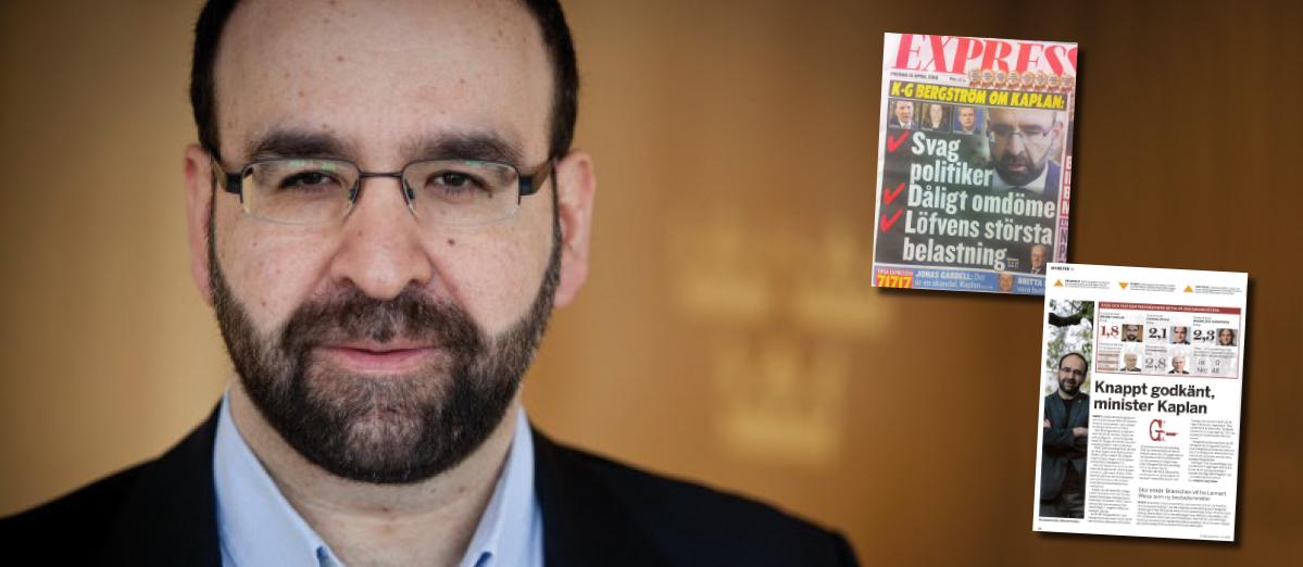Mehmet Kaplan. Faksimiler ur Expressen från 15 april 2015 och magasinet Fastighetsvärlden i november 2015 (Nr 11/2015).