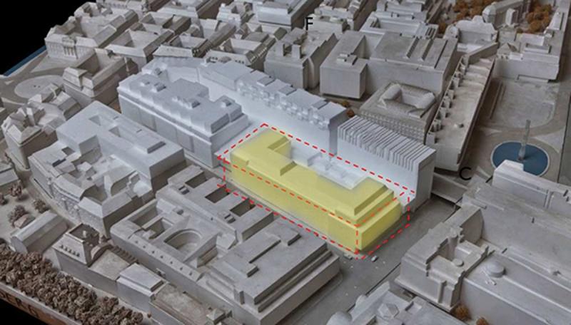 """Fastigheten Trollhättan 30 gulmarkerad och i dagens utformning. Framöver kommer delar av de ytor som idag är """"innegård"""" användas till kontorslokaler."""