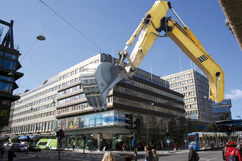 Byggnaden på Trollhättan 30 som den ser ut idag. Enligt planen ska den rivas. Obs. Bilden är ett montage.