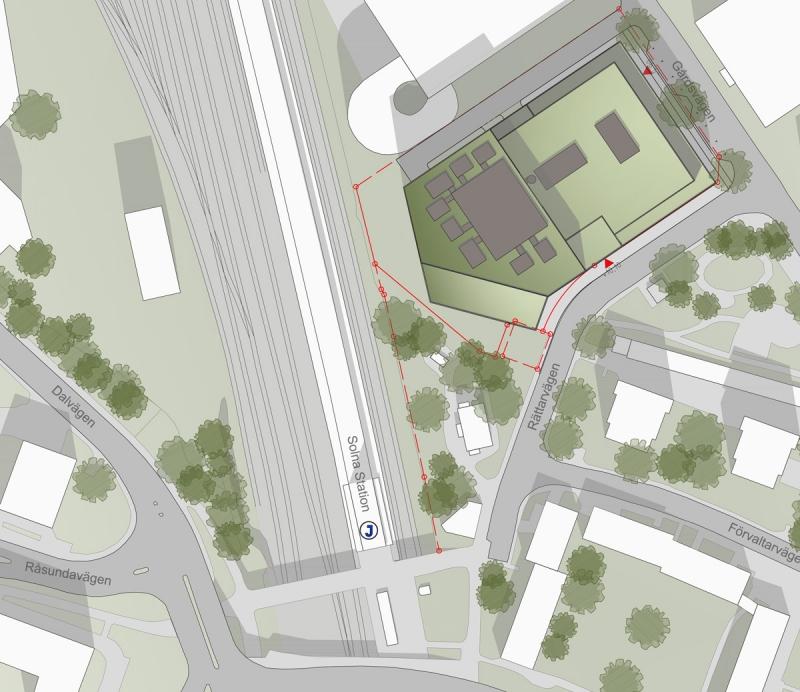 Här ligger den aktuella fastigheten, granne med pendeltågsstationen Solna Station. Nära finns även tvärbanan och det ska byggas tunnelbana till området.