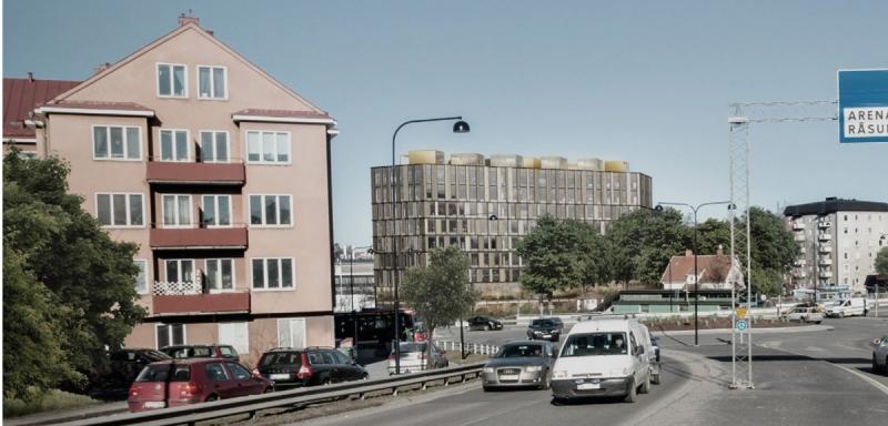 Den nya byggnaden. Vy från Frösundaleden. Illustration: Tengbom