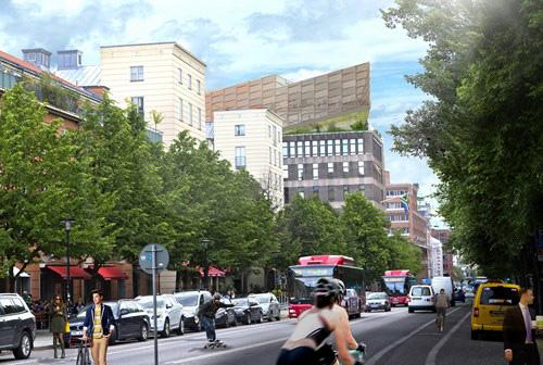 Föreslagen påbyggnad sedd från Fleminggatan mot öster. Illustration: Manuelle Gautrand Architecture