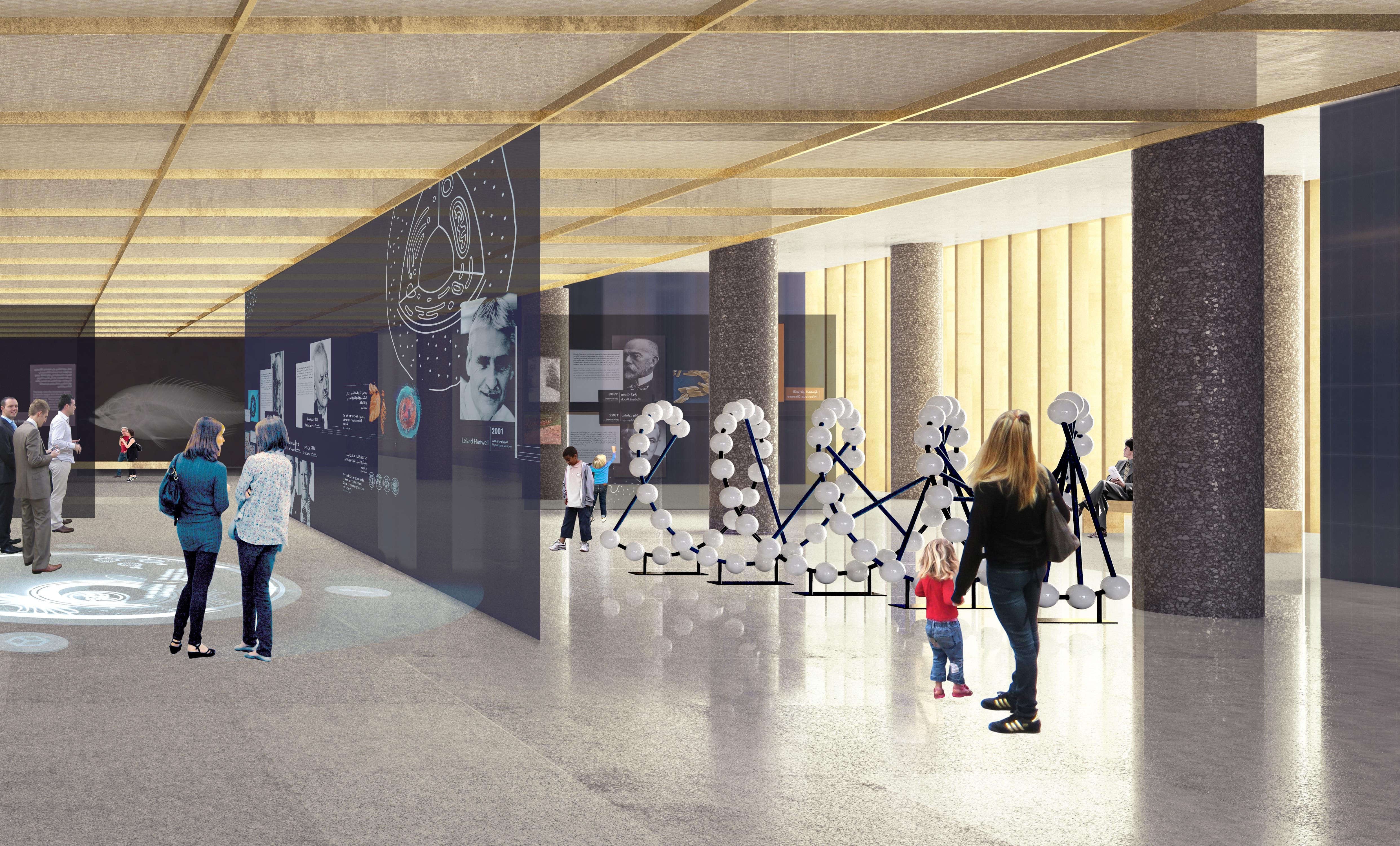 Delen för Nobelmuseet finns i de tre nedre våningsplanen.