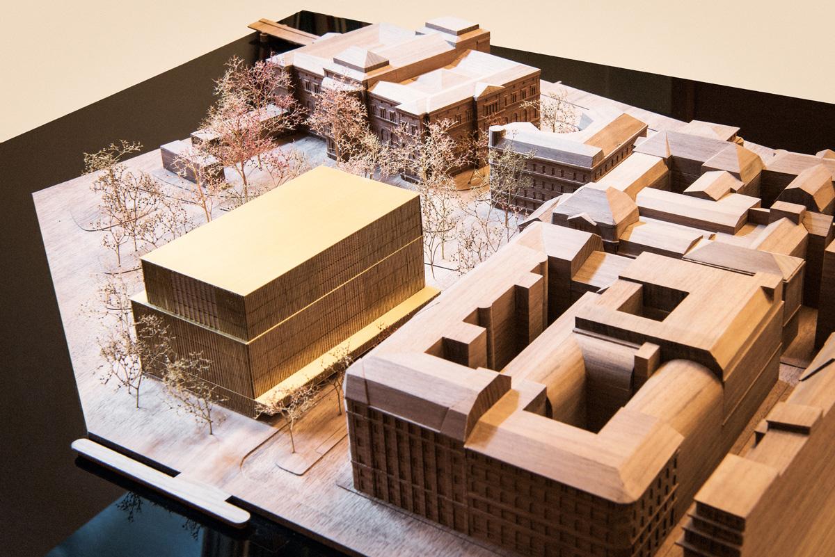 Ännu en modell över hur det är tänkt att det ska se ut hösten 2020. Till höger syns Lundbergs fastighet och bakom syns Nationalmuseum.