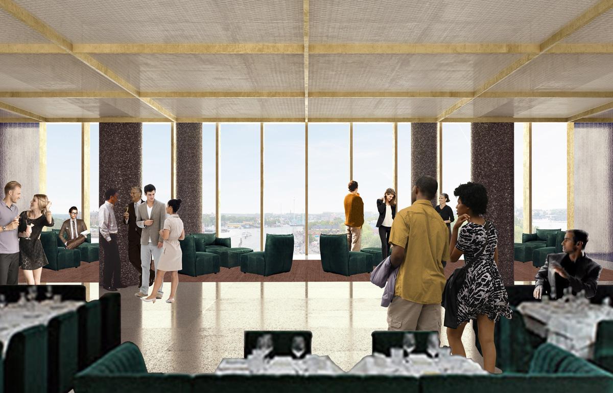 Högst upp, på femte våningen, blir det en restaurang. Illustration: David Chipperfield Architects.