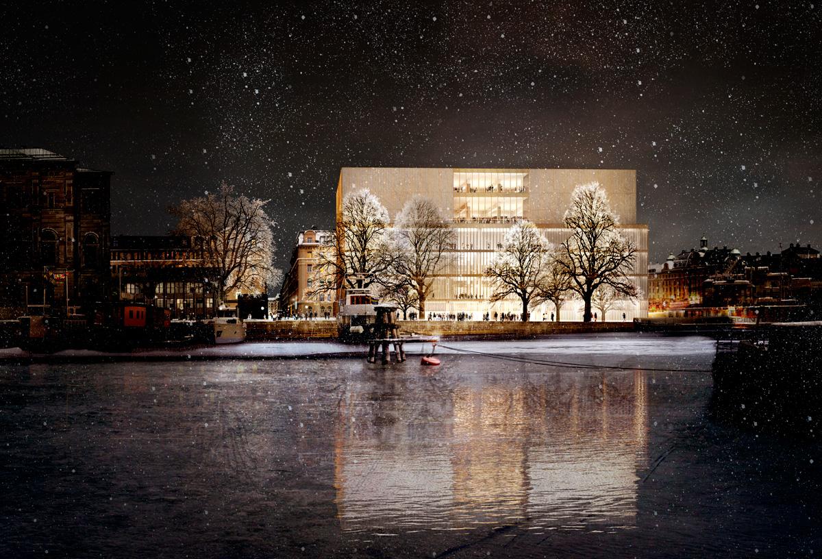 Vy från Skeppsholmen. Illustration: David Chipperfield Architects.