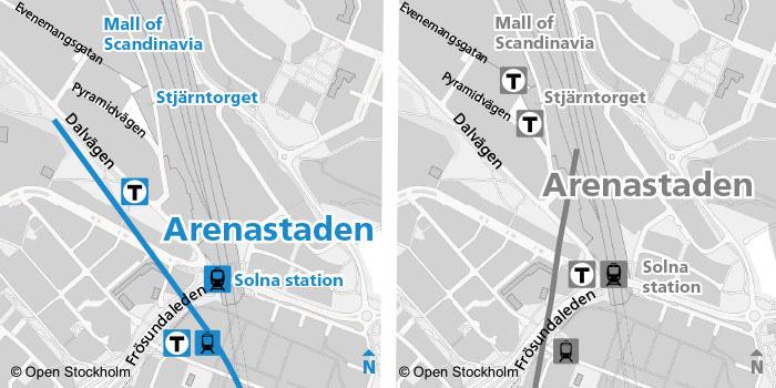 Så här planeras de två stationsuppgångarna enligt det senaste förslaget. Se det tidigare förslaget till höger. Karta: SLL/SL