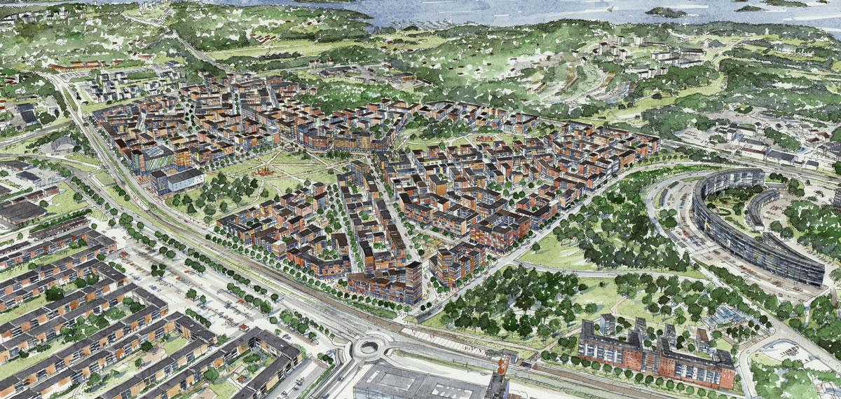 Täby Park ska omfatta 6.000 bostäder och inhysa 4.000-5.000 arbetsplatser när hela stadsdelen är färdigbyggd någon gång efter 2035.