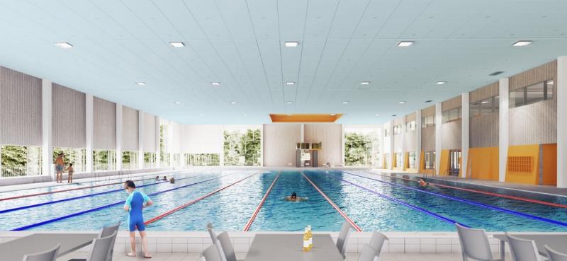 NCC bygger badhus i Järfälla åt Tagehus. Illustration: Liljewall arkitekter.