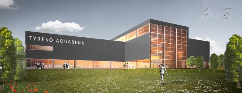 Tyresö Aquarena byggdes enligt så kallad OPS, offentlig-privat samverkan – en ovanlig projektform i Sverige. Illustration: Liljewall Arkitekter