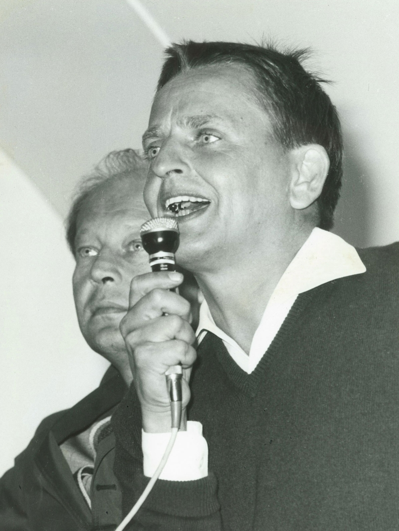 Olof Palme håller sitt första tal 1968 i Almedalen