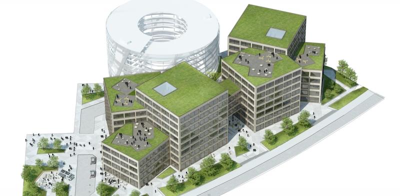 Översikten visar placeringen av de två huskroppar som tillsammans bilar Grow. Illustration: Tham & Videgård Arkitekter.