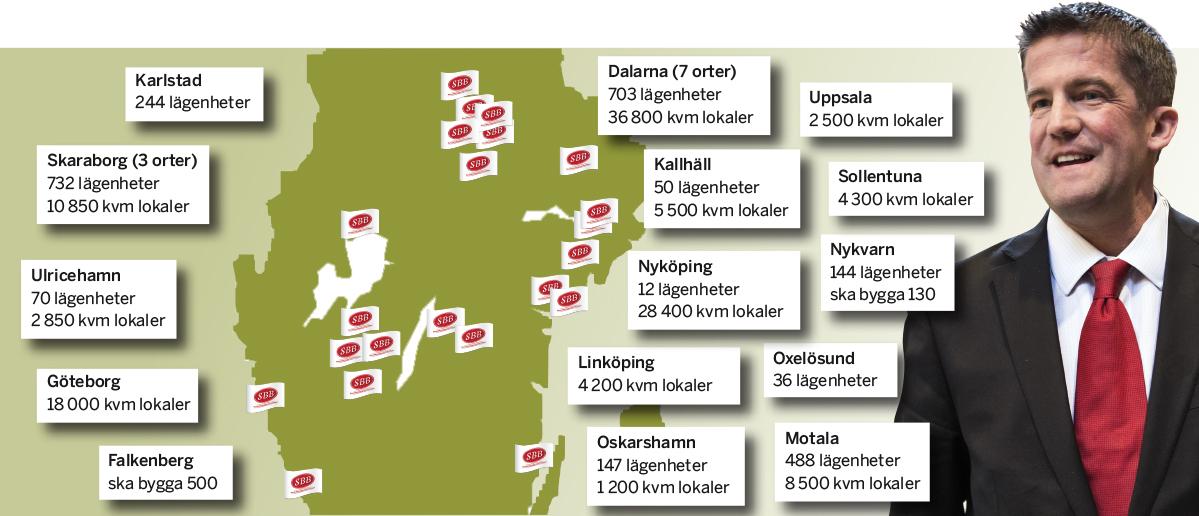 SBBs bestånd 21 september 2016. Sammanställning: Fastighetsvärlden.