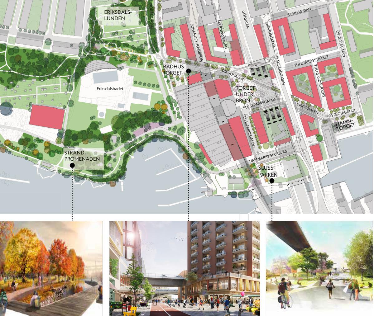Förslaget: Situationsplan över Södra Skanstull, White arkitekter.