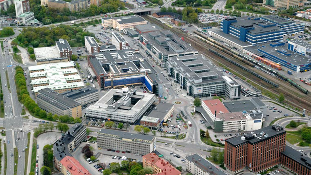 Flygbild över Solna Business Park.