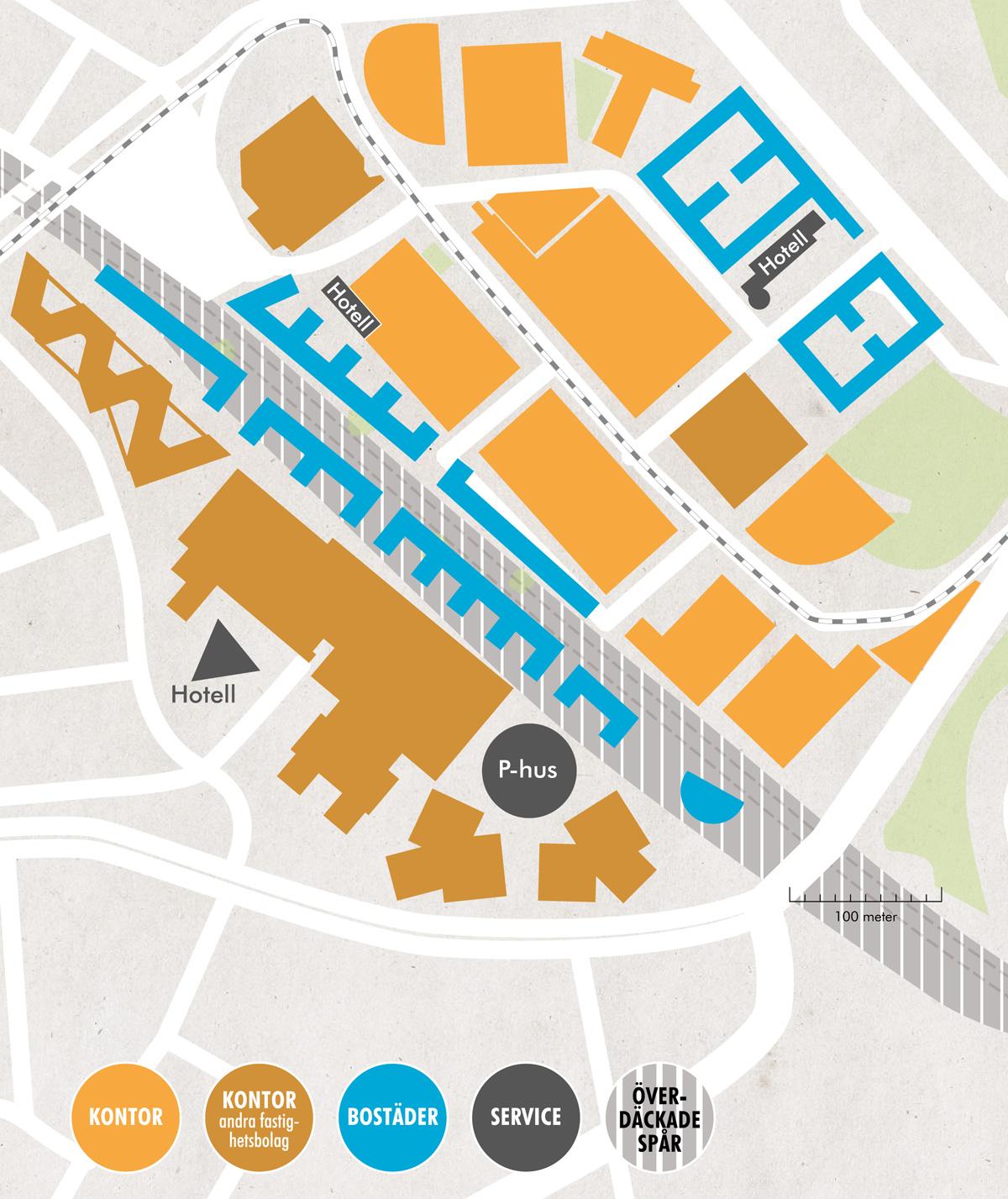 Karta över hur Solna Business Park ska förtätas. Bland annat med överteckning av järnvägsspåren.