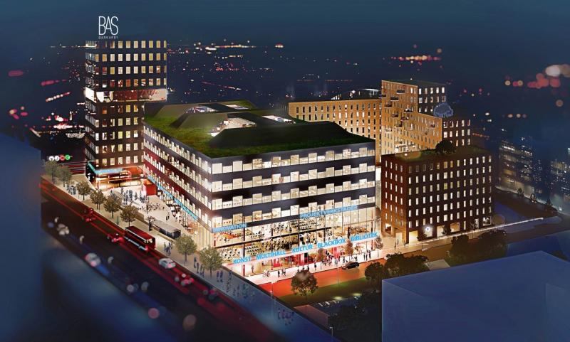 Bas Barkarby. Det är Atrium Ljungbers projektfastighet i Järfälla. Illustration av White Arkitekter