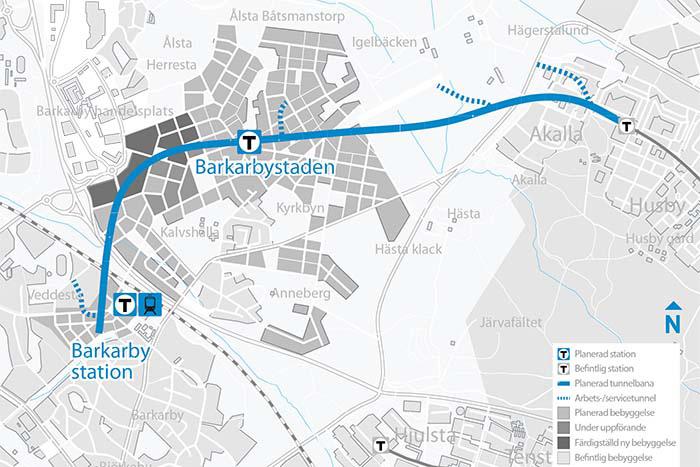 Den förlängda blå tunnelbanelinjen.